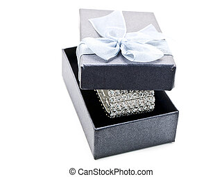 gift box with jewellery against the white background