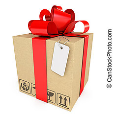 Gift box with label. Isolated on white background. 3d render