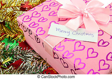 gift box with merry christmas label