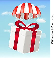 gift box with parachute on sky background