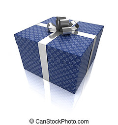 Gift box with patterns isolated on white background