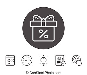 Gift box with Percentage line icon. Present.