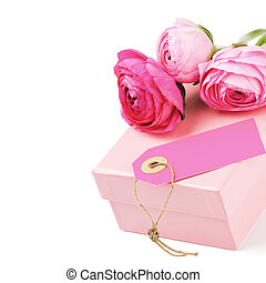 Gift box with pink peonies