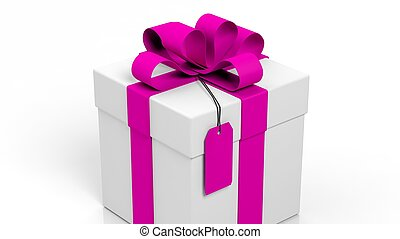 Gift box with pink ribbon and blank tag isolated on white