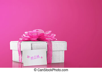 Gift box with pink ribbon for mom