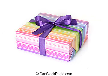 Gift box with purple tape