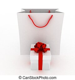 Gift box with red bow and bag for gift on white background