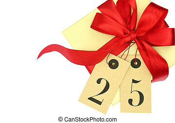 Gift box with red bow and tags with number 25 isolated on white