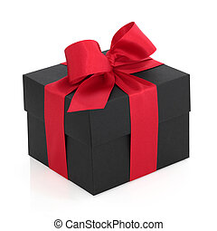Gift Box with Red Bow - Black gift box with red satin ribbon...