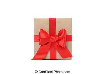 Gift box with red bow isolated on white background