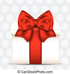 Gift box with red bow on christmas background