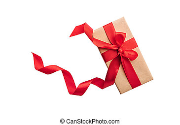 Gift box with red bow on white background.