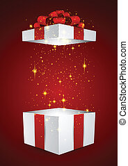 Gift box with red bow. - Opened 3d realistic gift box with ...