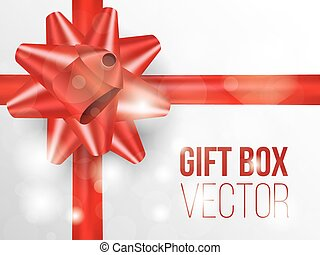 Gift box with red bow place for text, vector