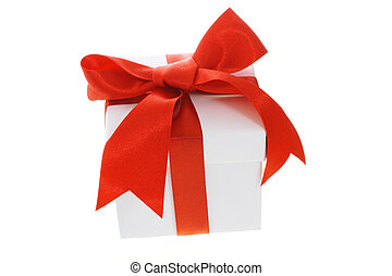 Gift box with red bow ribbon