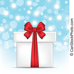 Gift box with red bows on glowing background