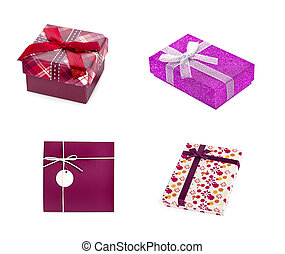 Gift box with red ribbon an isolated on white background