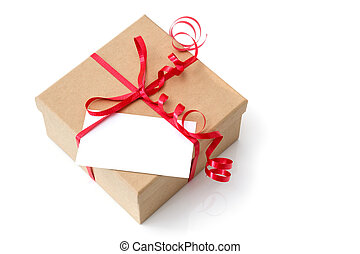 Gift box with red ribbon and blank card