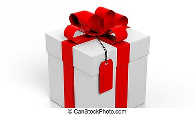 Gift box with red ribbon and blank tag isolated on white