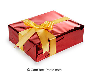 gift box with red ribbon bow, isolated on white