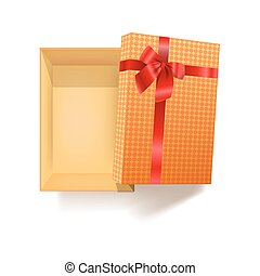 Gift box with red ribbon flower and pattern wrapper vector 3d icon