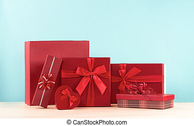 Gift box with red ribbon  for Valentine's Day.