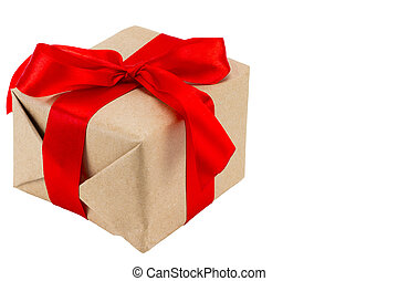 Gift box with red ribbon, isolated on the white background, clipping path included