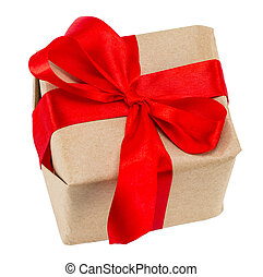Gift box with red ribbon, isolated on the white background, clipping path included, the view from the top