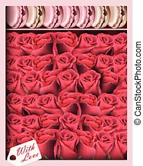 Gift box with red roses and macaroons. Vector realistic top view