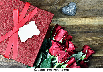 Gift Box with Red Roses - Gift box with long stem red roses...