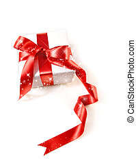 Gift box with red satin ribbon