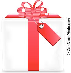 Gift box with red tag vector icon