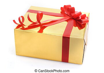Gift box with red tape