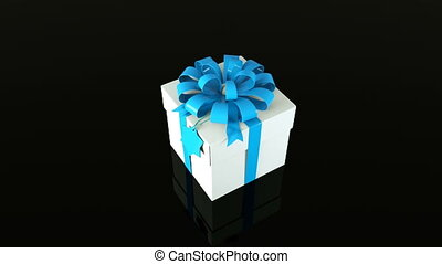 Gift box with ribbon and bow, 3d rendering background for holiday, festive, celebratory creative, computer generated