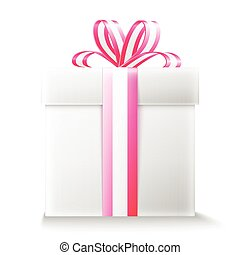 Gift box with ribbon and bow.