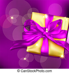 Gift box with ribbon and bow. Vector illustration