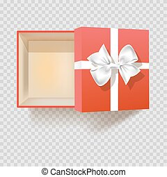 Gift box with ribbon bow empty open vector 3d isolated icon