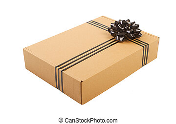 Gift box with ribbon bow.