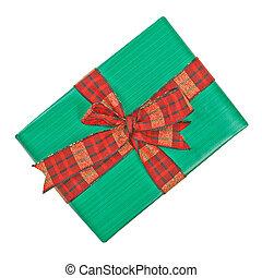 Gift box with ribbon bow.
