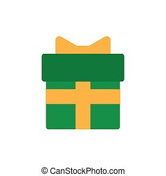 gift box with ribbon, flat style icon