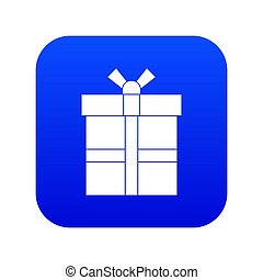 Gift box with ribbon icon digital blue
