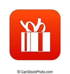 Gift box with ribbon icon digital red
