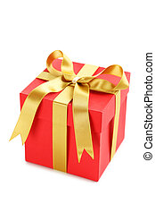 Gift box with ribbon isolated on a white