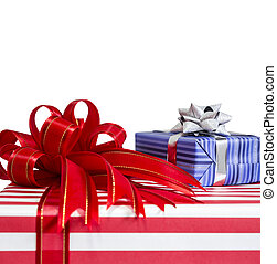 Gift box with ribbon isolated on white background with clipping path