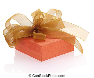 Gift box with ribbon isolated on white background