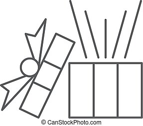 Gift box with ribbon line icon, outline vector sign, linear style pictogram isolated on white. Symbol, logo illustration.