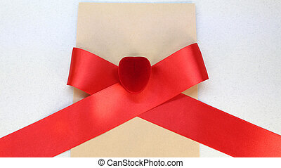 gift box with ribbon on red background