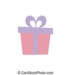 Gift box with ribbon.