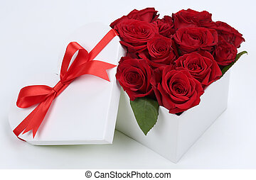 Gift box with roses for birthday gifts, Valentine's or mother's