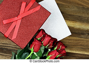 Gift Box with Roses - Gift box with long stem red roses and...